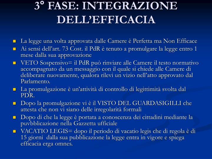 3° FASE: INTEGRAZIONE DELL'EFFICACIA