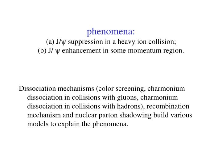 Phenomena a j suppression in a heavy ion collision b j enhancement in some momentum region