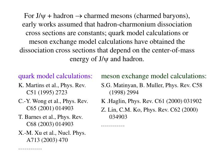 quark model calculations: