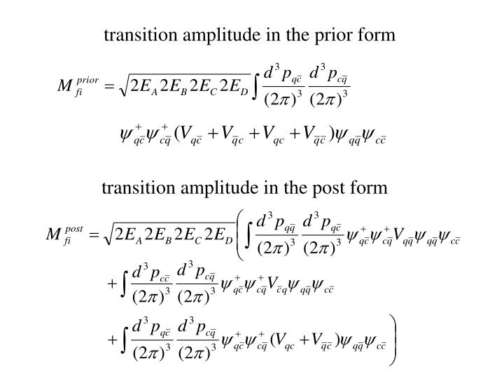 transition amplitude in the prior form