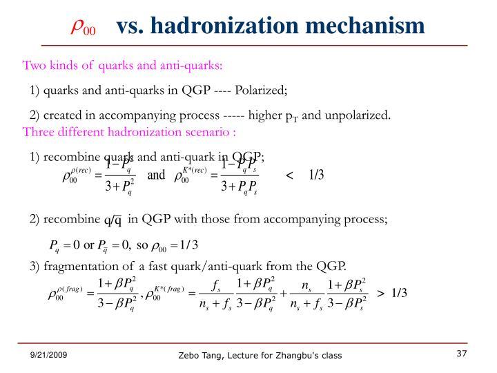vs. hadronization mechanism