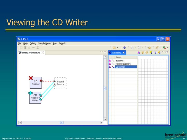 Viewing the CD Writer