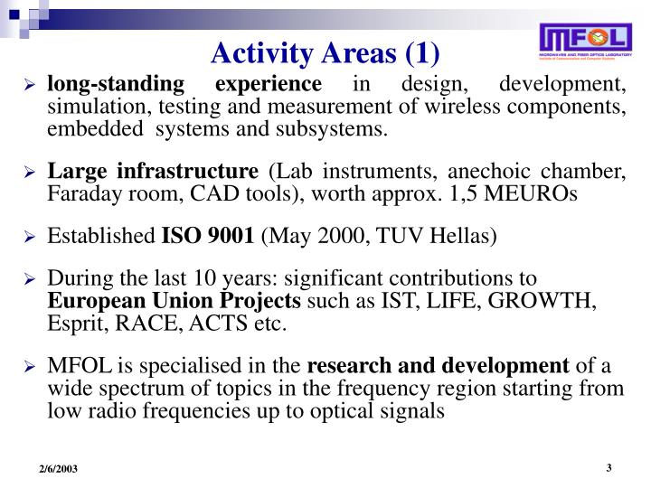 Activity Areas (1)