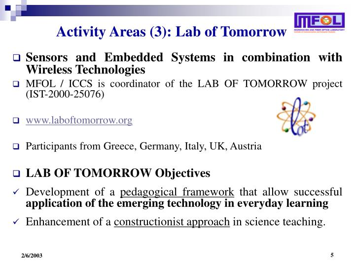 Activity Areas (3): Lab of Tomorrow