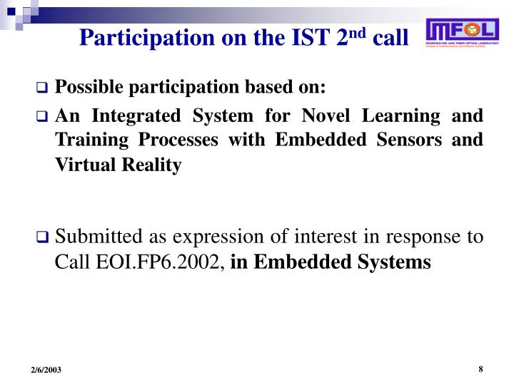 Participation on the IST 2