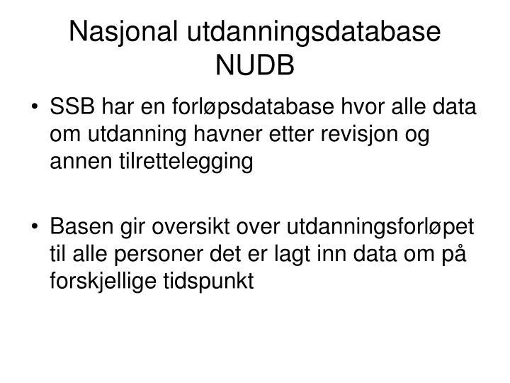 Nasjonal utdanningsdatabase NUDB