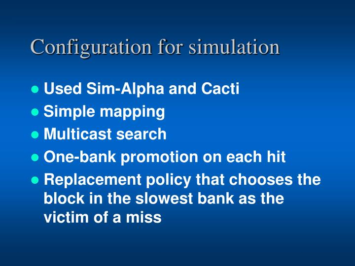 Configuration for simulation