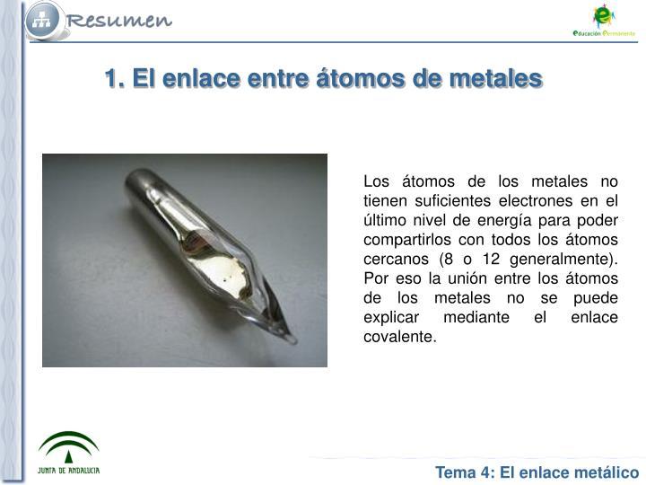 1. El enlace entre átomos de metales