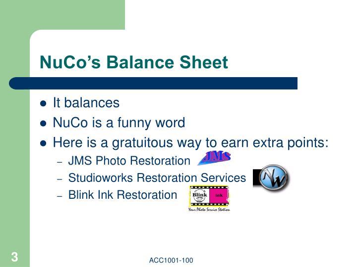 NuCo's Balance Sheet