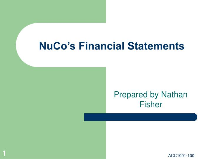 Nuco s financial statements