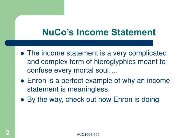NuCo's Income Statement