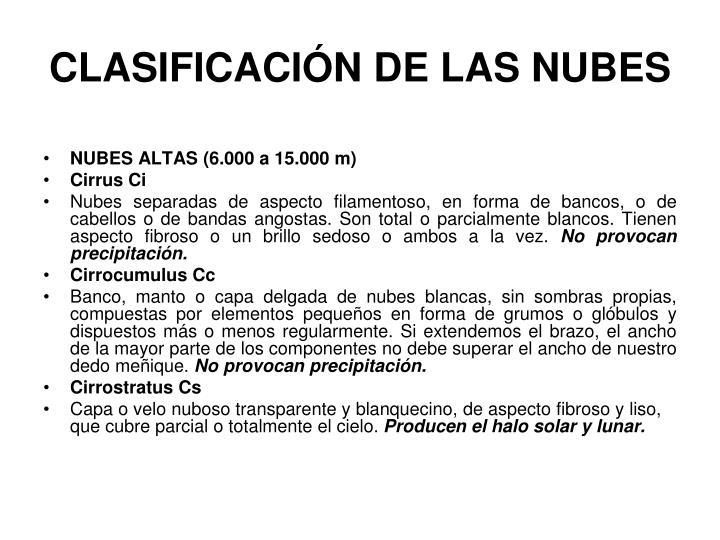CLASIFICACIÓN DE LAS NUBES