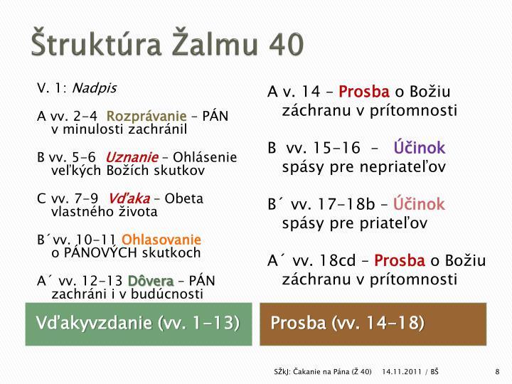 Štruktúra Žalmu 40
