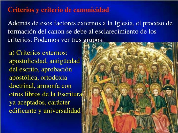 Criterios y criterio de canonicidad