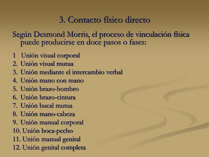Según Desmond Morris, el proceso de vinculación física puede producirse en doce pasos o fases:
