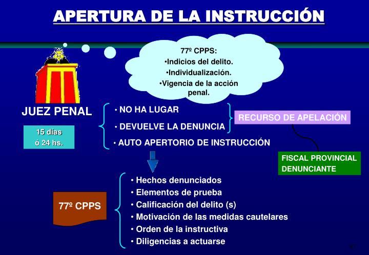 APERTURA DE LA INSTRUCCIÓN