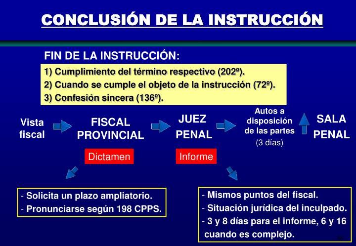 CONCLUSIÓN DE LA INSTRUCCIÓN