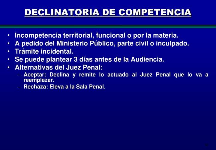 DECLINATORIA DE COMPETENCIA