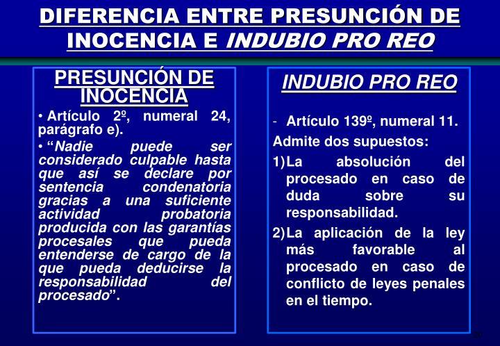 DIFERENCIA ENTRE PRESUNCIÓN DE INOCENCIA E
