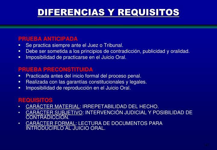 DIFERENCIAS Y REQUISITOS