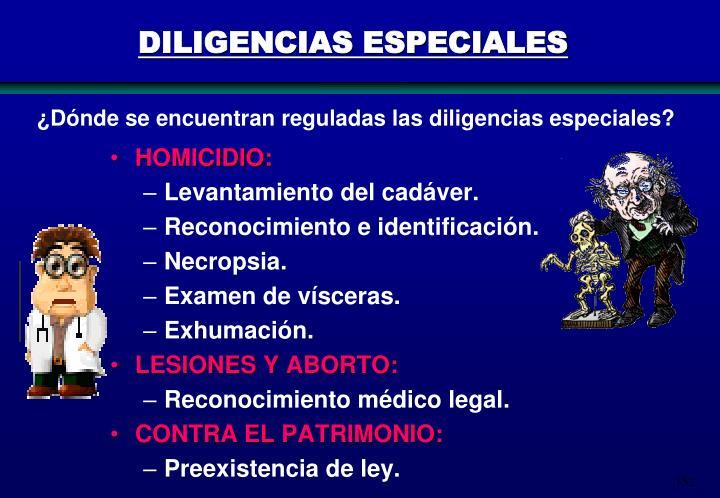 DILIGENCIAS ESPECIALES