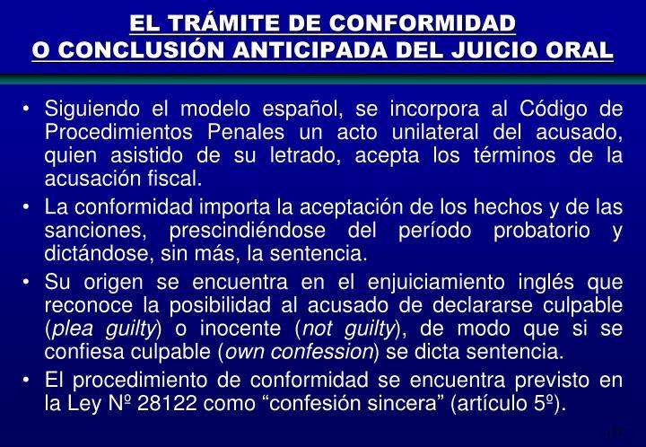 EL TRÁMITE DE CONFORMIDAD