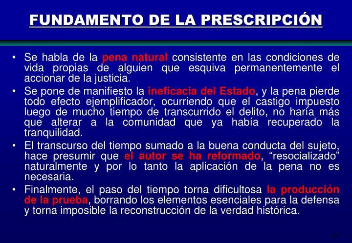 FUNDAMENTO DE LA PRESCRIPCIÓN