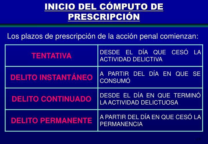 INICIO DEL CÓMPUTO DE PRESCRIPCIÓN