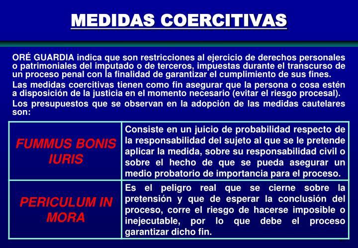 MEDIDAS COERCITIVAS