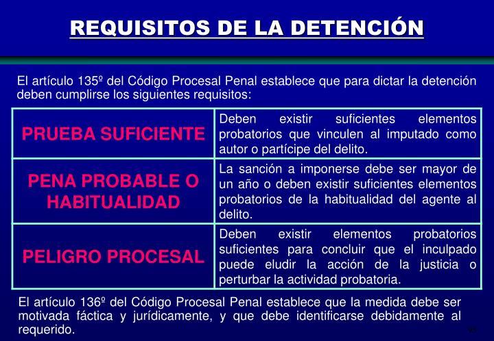 REQUISITOS DE LA DETENCIÓN