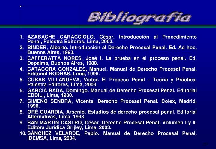 AZABACHE CARACCIOLO, César. Introducción al Procedimiento Penal, Palestra Editores, Lima, 2003.