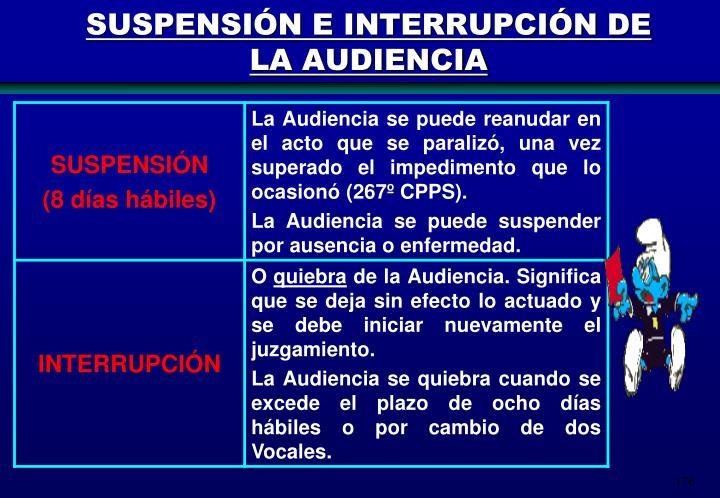 SUSPENSIÓN E INTERRUPCIÓN DE LA AUDIENCIA