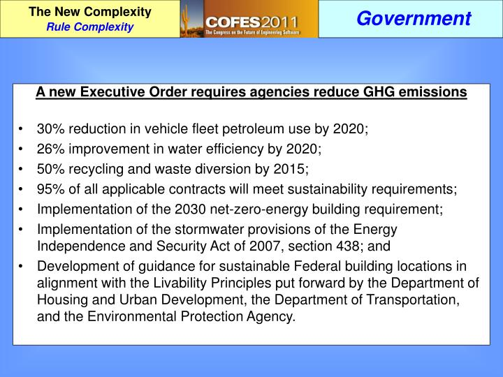 A new Executive Order requires agencies reduce GHG emissions