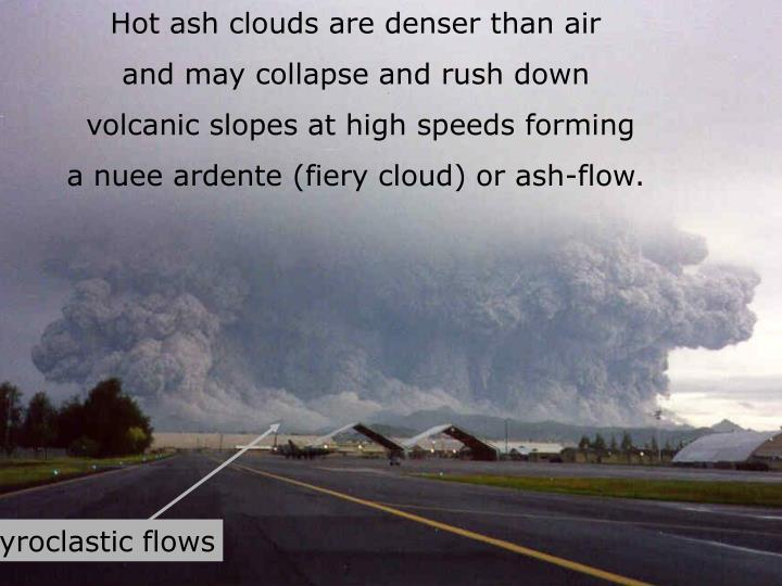 Hot ash clouds are denser than air