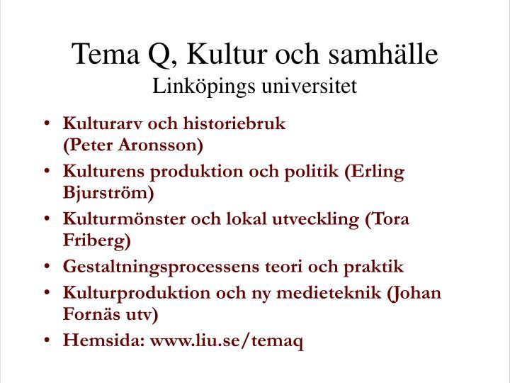 Tema Q, Kultur och samhälle