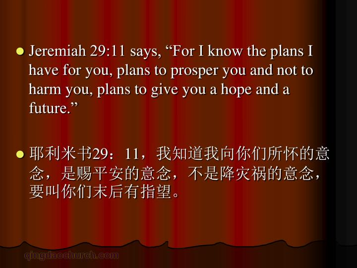 """Jeremiah 29:11 says, """"For I know the plans I have for you, plans to prosper you and not to harm you, plans to give you a hope and a future."""""""