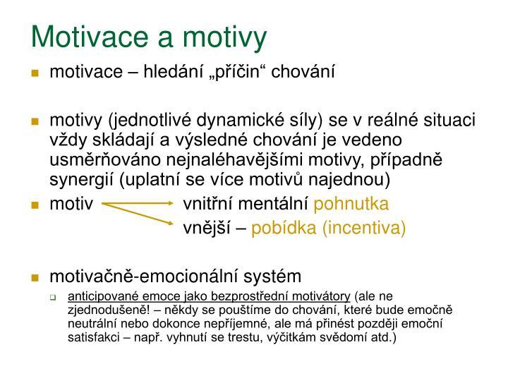 Motivace a motivy