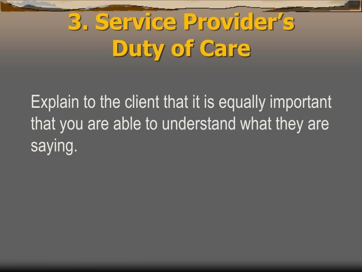 3. Service Provider's