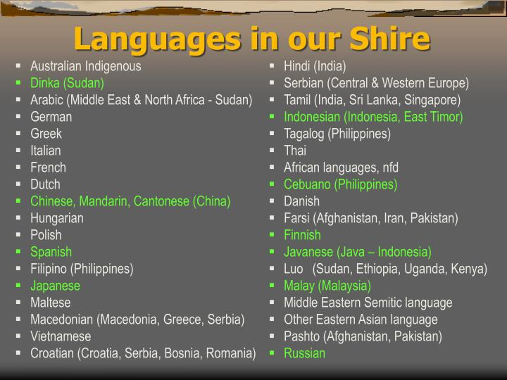 Languages in our Shire
