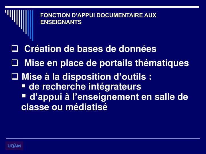 FONCTION D'APPUI DOCUMENTAIRE AUX ENSEIGNANTS