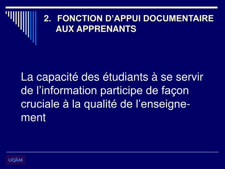 FONCTION D'APPUI DOCUMENTAIRE
