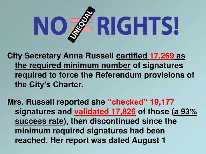 City Secretary Anna Russell