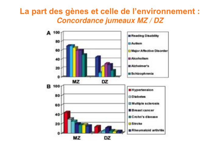 La part des gènes et celle de l'environnement :
