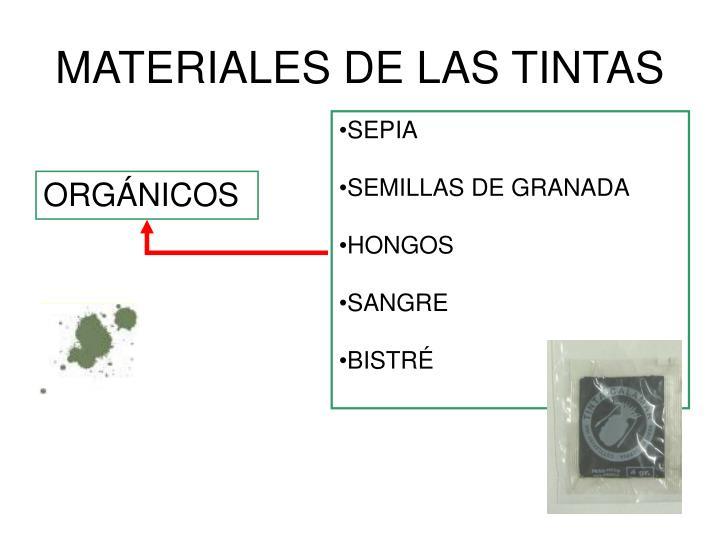 MATERIALES DE LAS TINTAS