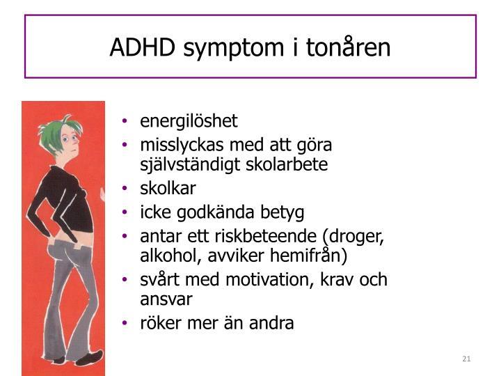 ADHD symptom i tonåren