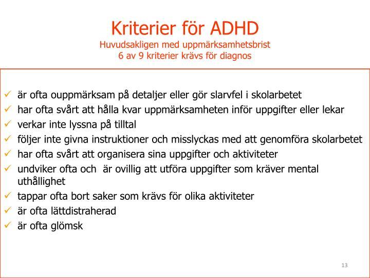 Kriterier för ADHD
