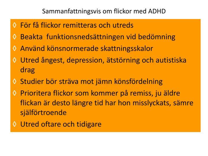Sammanfattningsvis om flickor med ADHD