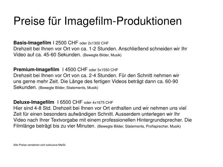Preise für Imagefilm-Produktionen