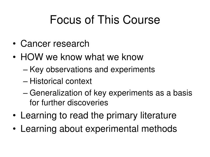 Focus of this course