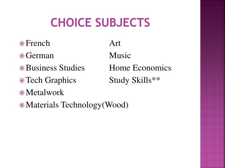 Choice Subjects